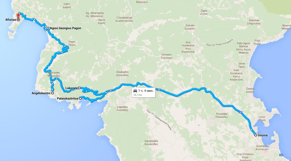 Автомобильный маршрут Корфу. Северо-запад