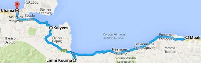 Автомобильные маршруты по острову Крит карта Курнас - Каливес - Ханья