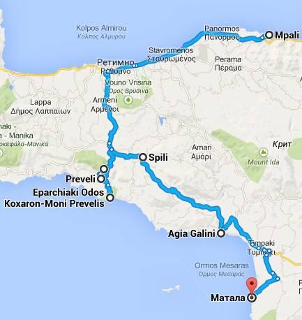 Автомобильные маршруты по острову Крит карта ущелье Курталиотико - Превели - Пальмы - Шпили - Галини - Матала